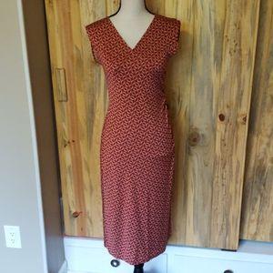 Diane Von Furstenberg red silk midi dress
